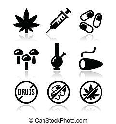 dipendenza, droghe, marijuana, icone