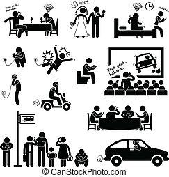 dipendenza, smartphone, ossessione, uomo