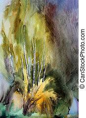 dipinto, acquarello, paesaggio astratto