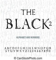 dipinto, alfabeto, olio, nero