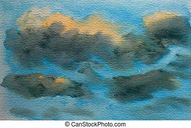 dipinto, astratto, cielo, struttura, acquarello, fondo