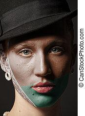 dipinto, bandiera, bielorussia, faccia donna