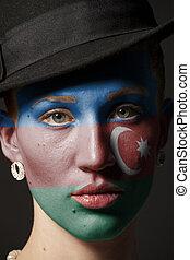 dipinto, bandiera, donna, azerbaijan, faccia