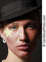 dipinto, bandiera, donna, porcellana, faccia