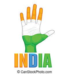 dipinto, colorare, bandiera, indiano, mano