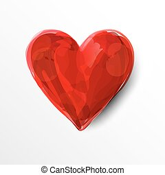 dipinto, cuore, rosso