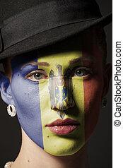 dipinto, faccia, bandiera, donna, moldova