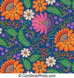 dipinto, fiori, bacche, fondo, illustrazione