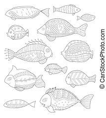 dipinto, fish, collezione, mano