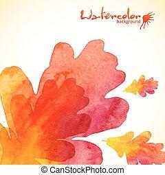 dipinto, foglie, quercia, acquarello, fondo, arancia