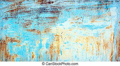 dipinto, graffiato, metallo, superficie