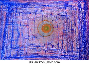 dipinto, immagine, astratto, colorare, matite