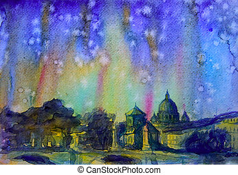 dipinto, immagine, astratto, watercolor., roma