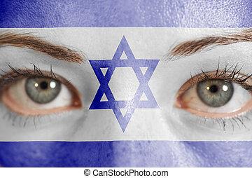 dipinto, israele, donna, bandiera, faccia