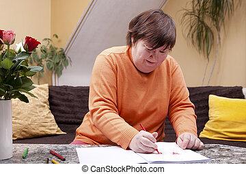 dipinto, matite, donna, libro, invalido
