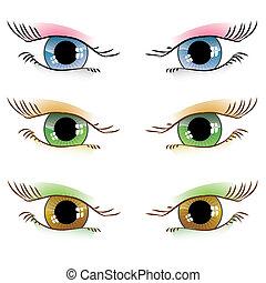 dipinto, occhi, set