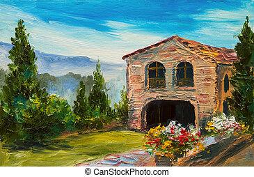 dipinto olio, -, italiano, villaggio, bello, paesaggio montagna