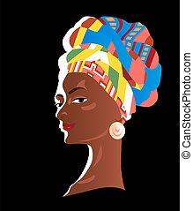 dipinto, ragazza, africano, headscarf., fondo, bello, nero, colorito