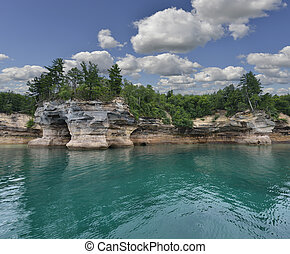 dipinto, roccia, nazionale, riva lago