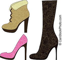 dipinto, scarpe, colorito