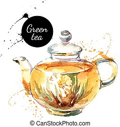 dipinto, tè, illustrazione, mano, acquarello, vettore,...