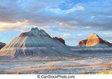 dipinto,  -,  tepee, Deserto, formazioni