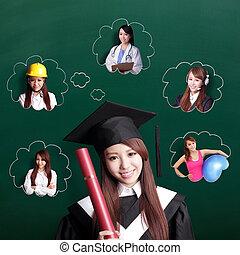 diplômé, étudiant, femme, penser, avenir