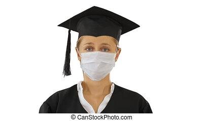 diplômé, appareil photo, masque, arrière-plan., étudiant, dame, monde médical, blanc, regarder