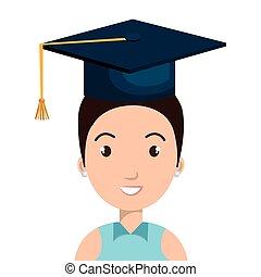 diplômé, avatar, étudiant, icône