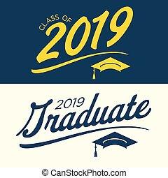 diplômé, classe, 2019, félicitations, typographie
