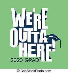 diplômé, classe, 2020, typographie, félicitations, gland, ...