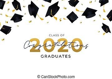 diplômés, air, chapeaux, voler, félicitations