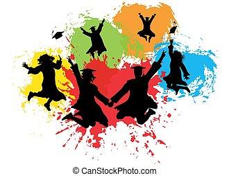 diplômés, universitaire, carrée, coloré, sauter, silhouettes, fond, splashes., illustration, vecteur, manteaux, casquettes