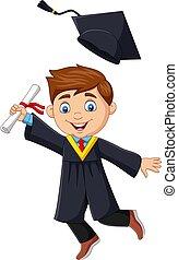 diplôme, dessin animé, garçon, diplômé, tenue