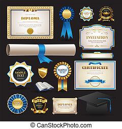 diplôme, et, école, éléments, ensemble, collection