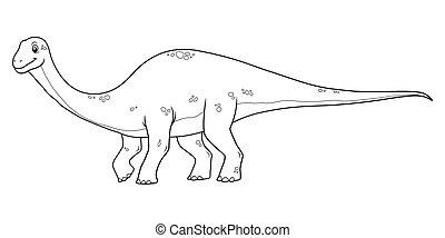 Diplodocus Cartoon BW