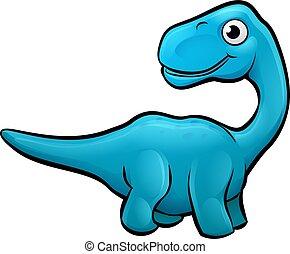 Diplodocus Dinosaur Cartoon Character - An apatosaurus or...
