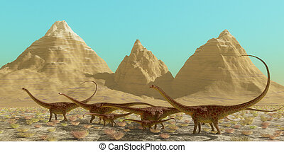 Diplodocus Dinosaur Herd