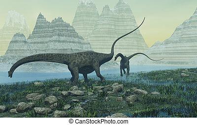 DIPLODOCUS - Two Diplodocus dinosaurs munch on vegetation...