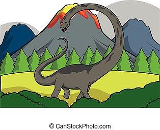 Diplodocus Prehistoric scene