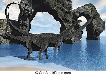 Diplodocus Wading - Two Diplodocus dinosaurs wade through...
