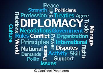diplomácia, szó, felhő