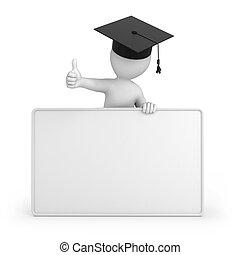 diplomás, feláll, lapozgat