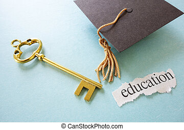 diplomás, sapka, kulcs