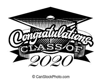 diplomás, vektor, osztály, congrats, fokozatokra osztás, gratulálok, diplomás, 2020.