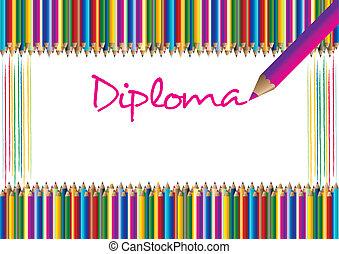 diplom, för, barn