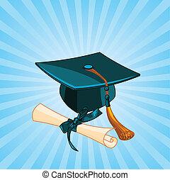 diplom, kappe, strahlig, studienabschluss