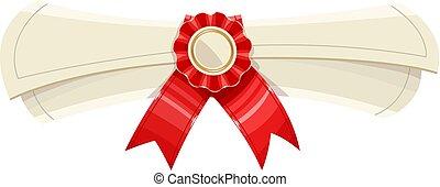 diplom, rolle, mit, ehrennadel, und, rotes band