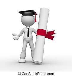 Diploma - 3d people - man, person with graduation and a...