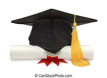 Diploma and Black Grad Hat